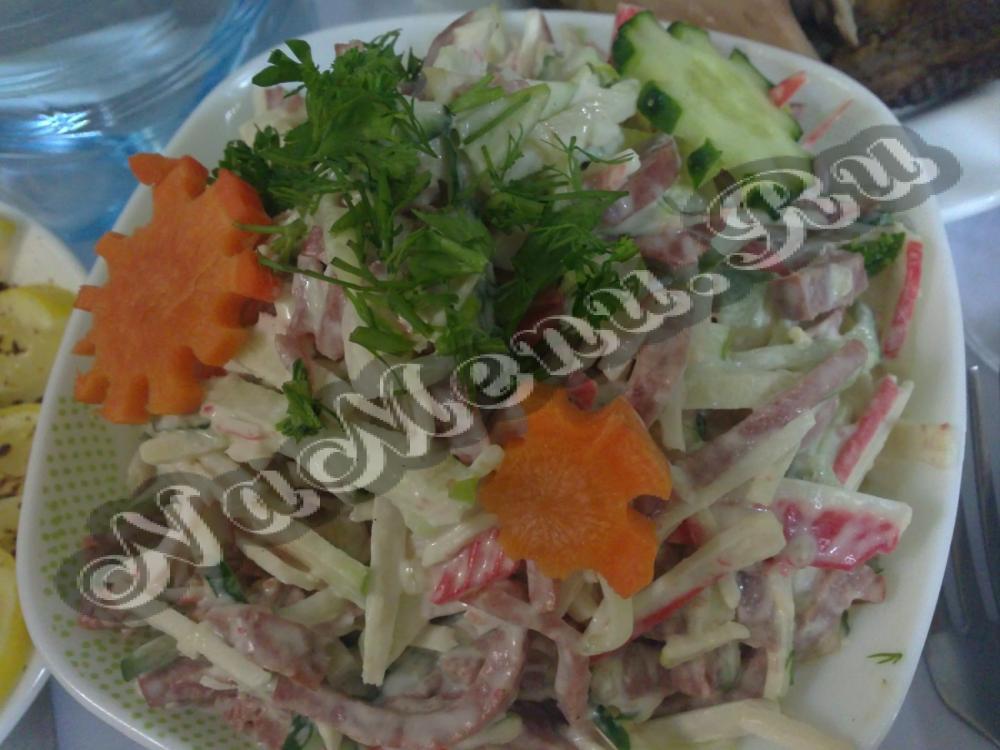 рецепт салата фасоль с крабовыми палочками