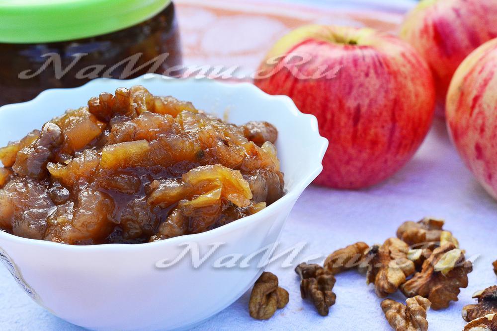 Варенье яблочное с орехами