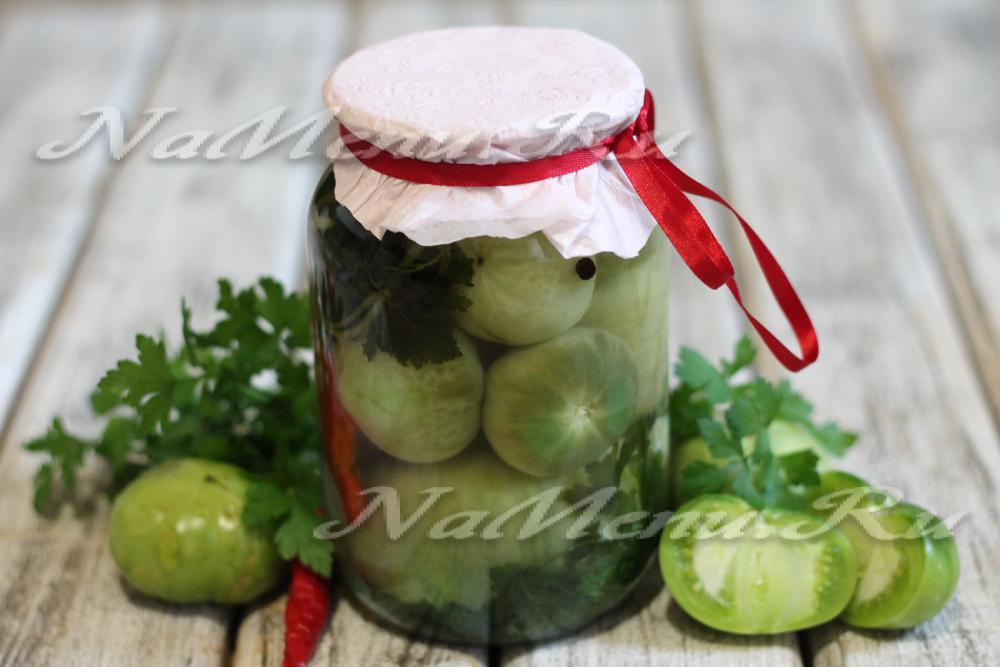 Зеленые помидоры без стерилизации на зимуы