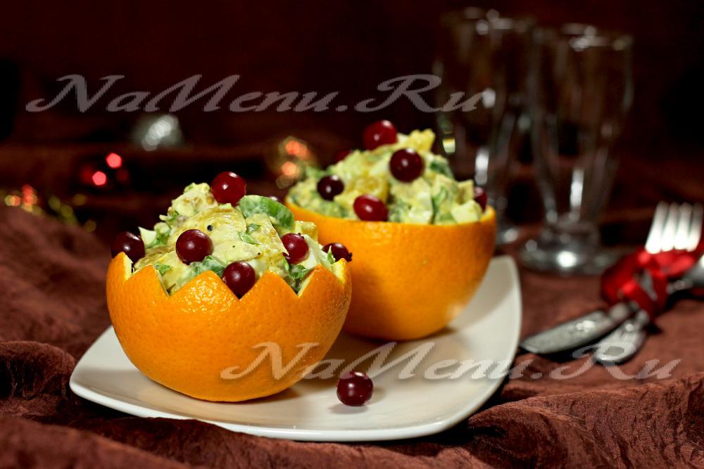 Салат из крабовых палочек и апельсином
