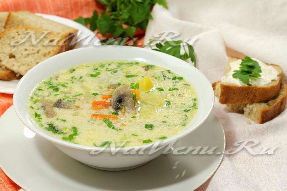 Как варить суп с сыром плавленным сыром и грибами с