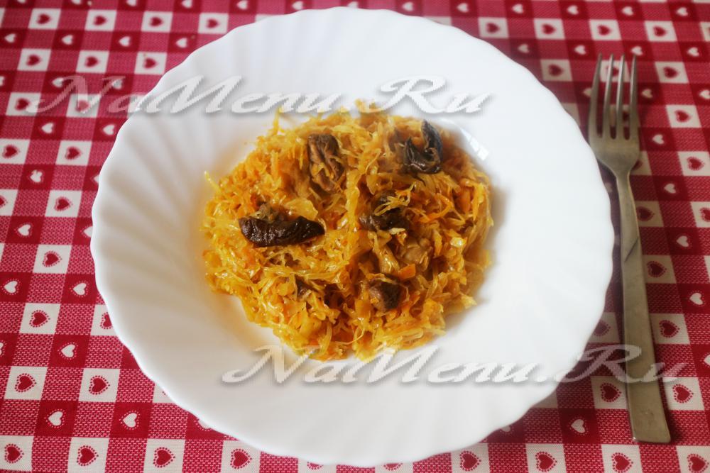 тушеная капуста с мясом рецепт с фото пошагово с томатной пастой #8