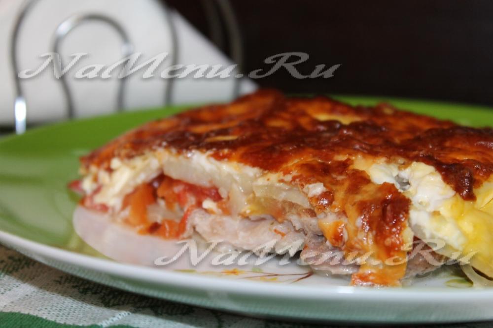 мясо по-французски с картошкой помидорами рецепт с фото
