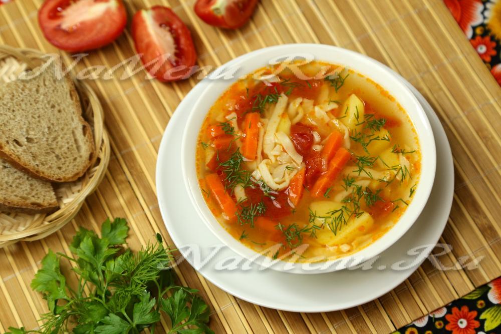 постный суп с капустой и лапшой