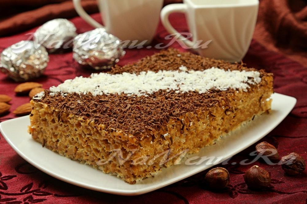 вафельный торт со сгущенкой не вареной рецепт с фото