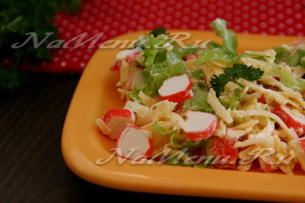 Салат из крабовых палочек без майонеза рецепт с очень вкусный с