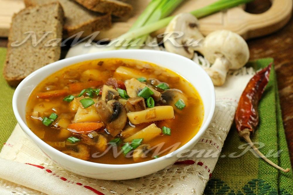 рецепт очень вкусного супа из шампиньонов