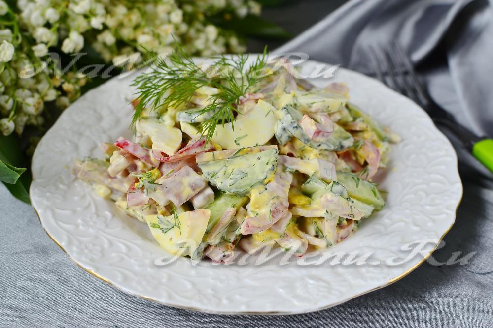 Рецепты салатов ветчиной пошаговые фото