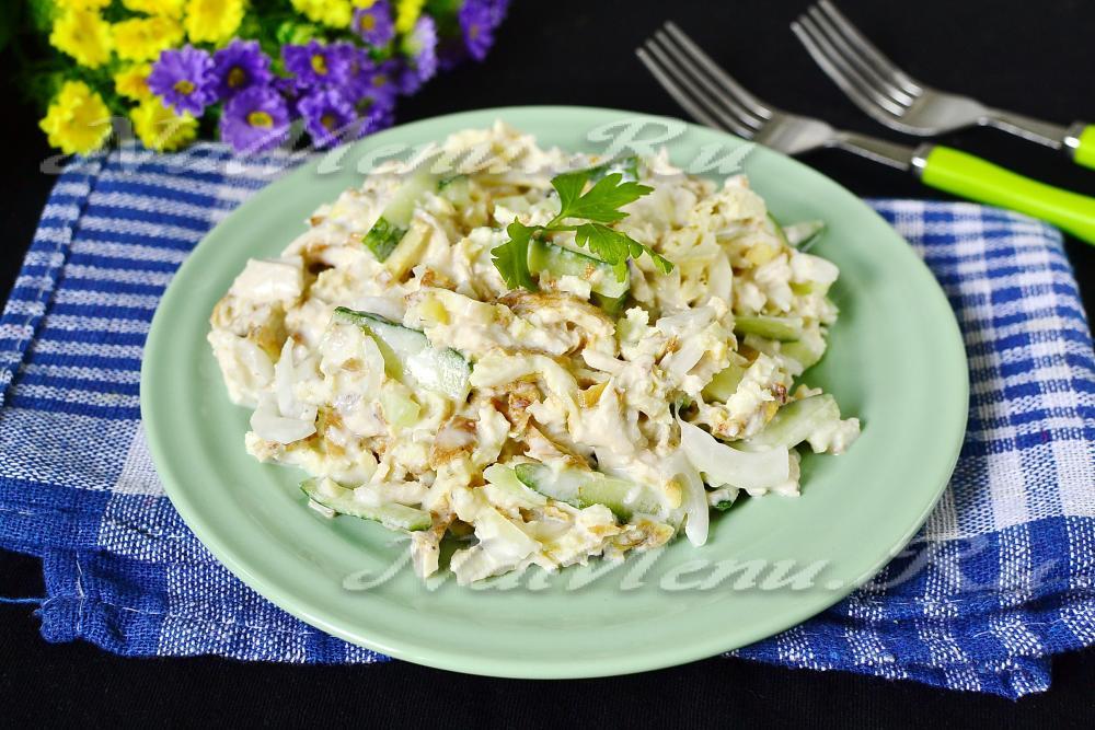 Салат с говядиной и омлетом рецепт