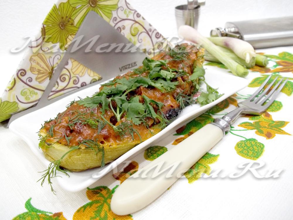 кабачки фаршированные грибами в духовке рецепт