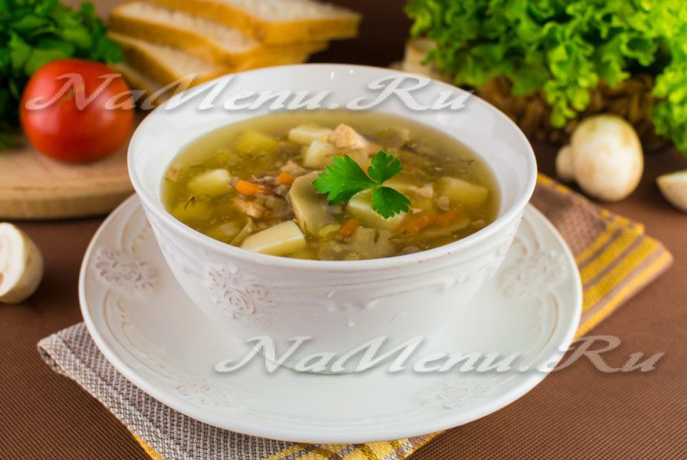 Грибной суп опята на курином бульоне рецепт