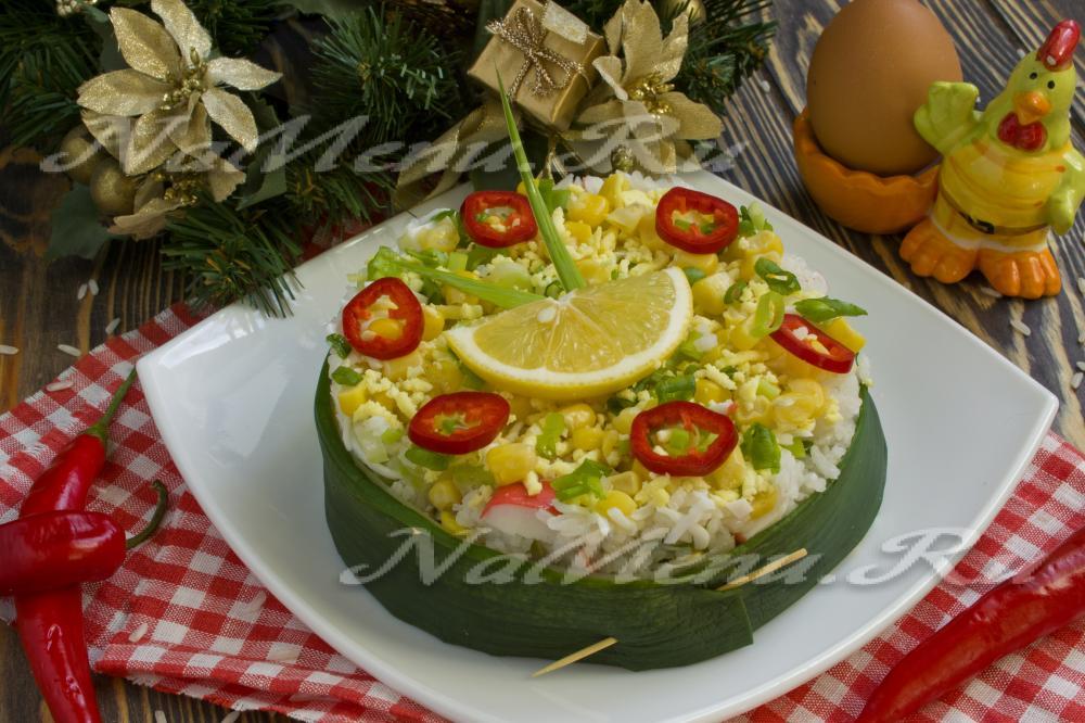 крабовый салат с кукурузой ананасом