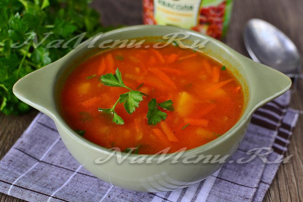 фасолевый суп из консервированной фасоли рецепт приготовления