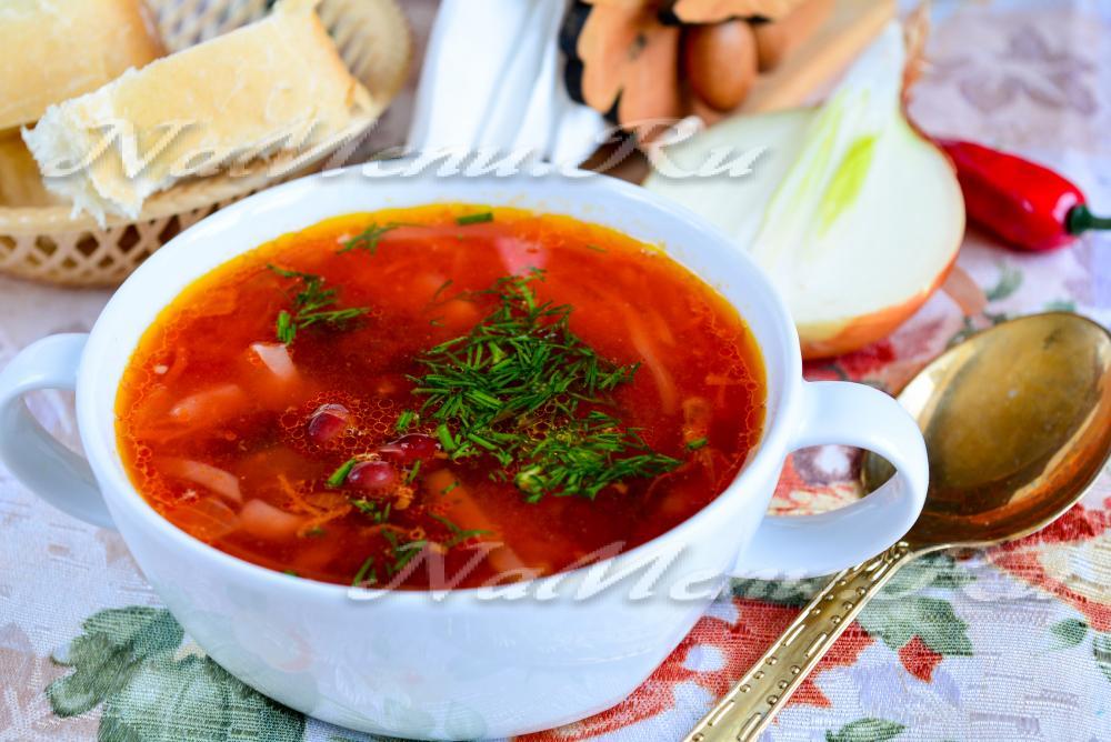 борщ без мяса рецепт калорийность на 100 грамм