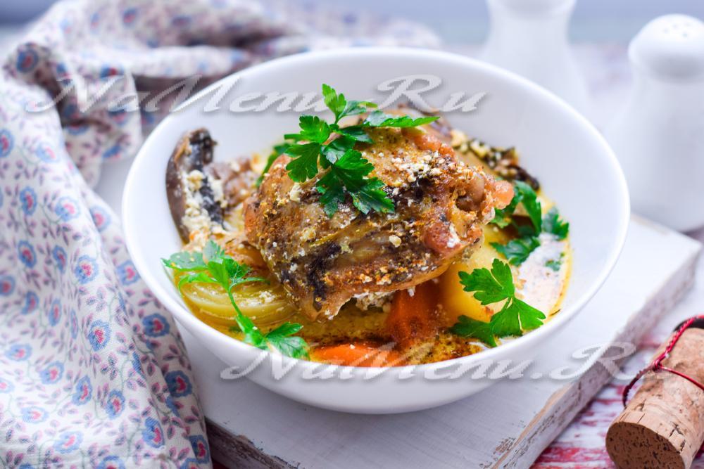 Тушеная картошка с курицей в духовке рецепт с фото пошагово на протвине