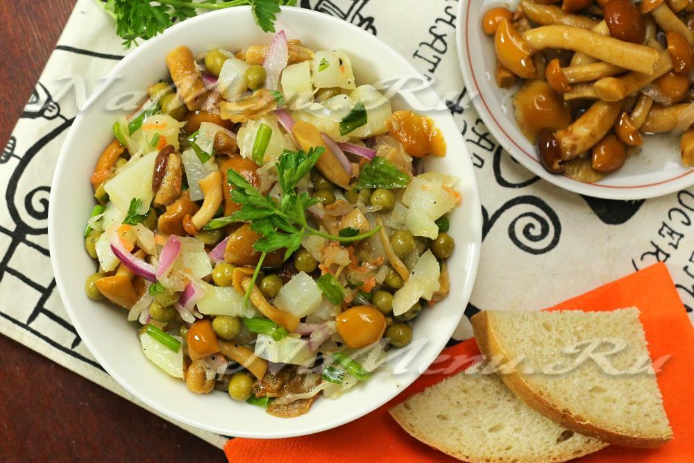 Рецепты вкусных салатов с грибами с