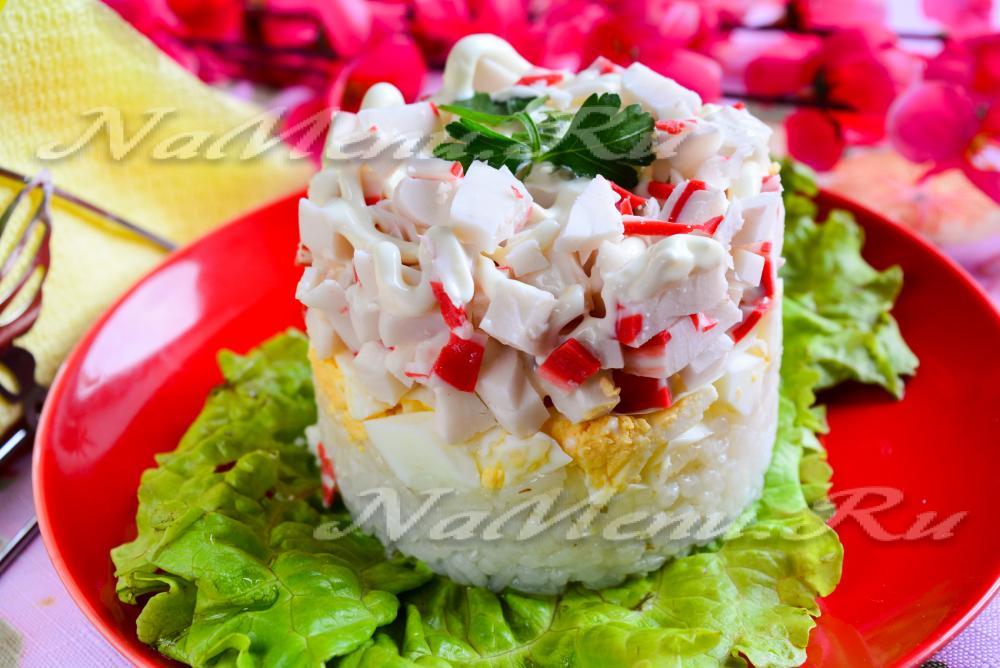 Салат крабовый с рисом и огурцом рецепт с очень вкусный