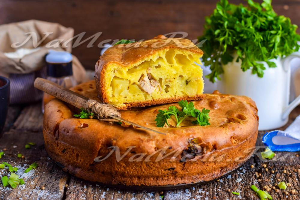 Рецепт пирог курица капуста