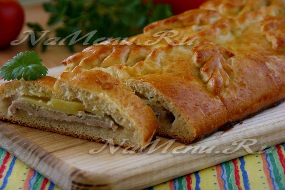 рецепт кулебяки с картошкой и мясом