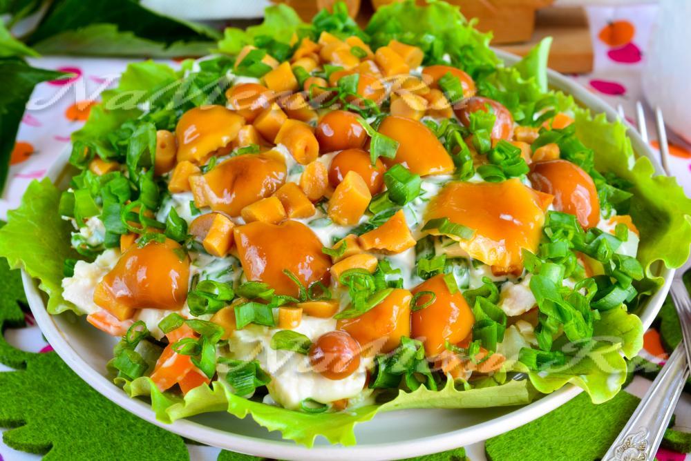 Салат полянка с корейской морковкой