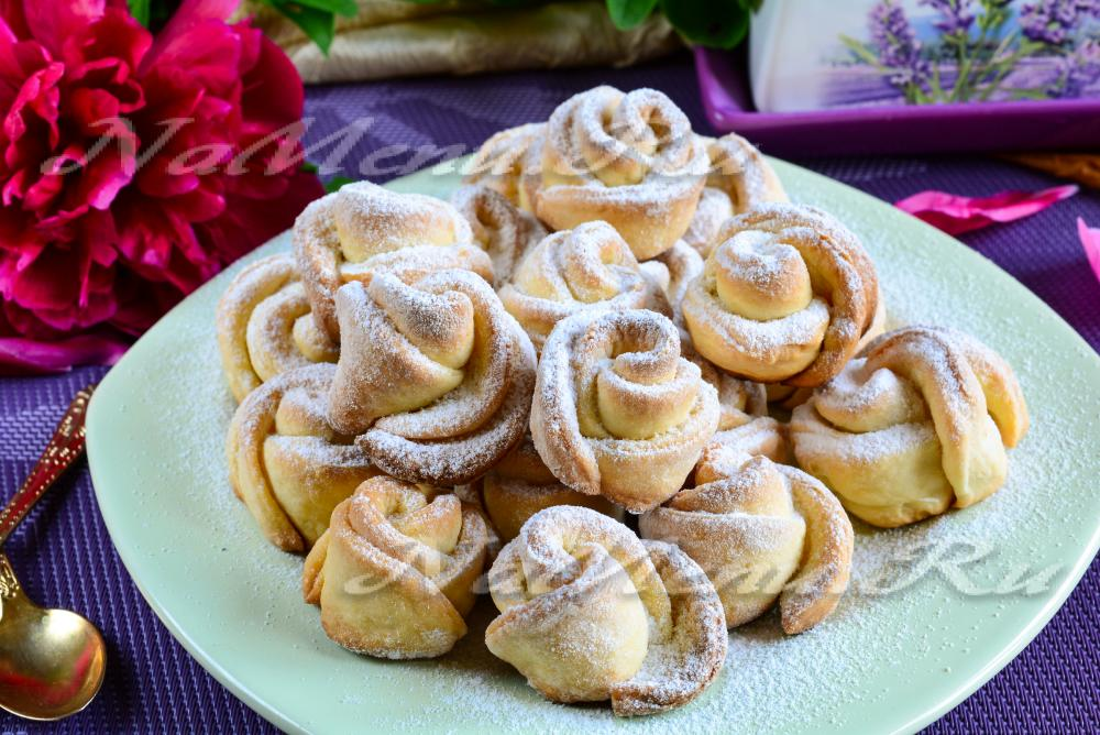 печенье из творога розочки пошаговый рецепт с фото