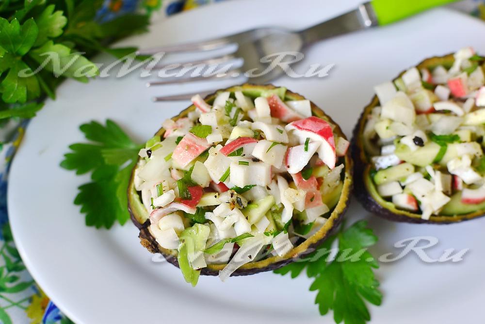 Салат с авокадо и крабовыми палочками рецепт с очень вкусный