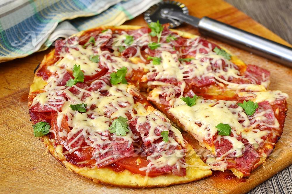 пицца на сковороде за 10 минут рецепт без сметаны и кефира без молока