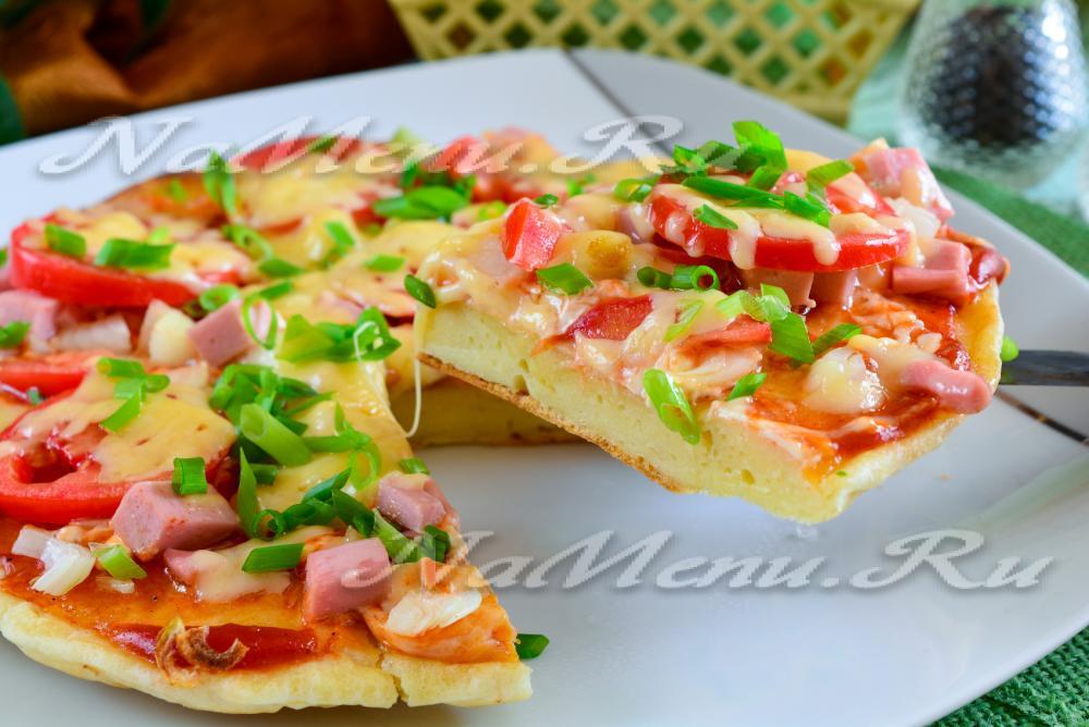 Пицца на сковородке на кефире