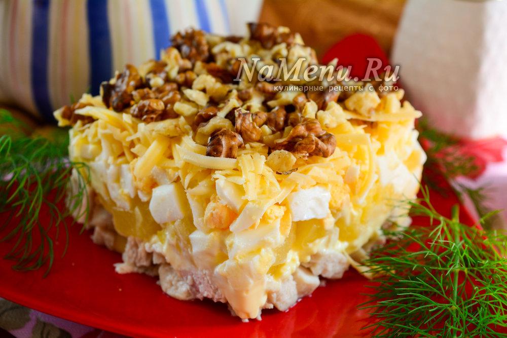 салат с курицей и ананасом классический простой рецепт с майонезом