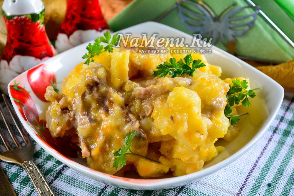 тушеная картошка с курицей в кастрюле рецепт