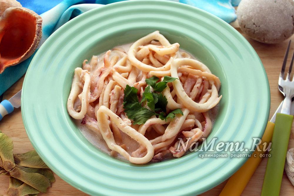 Рецепт кальмаров в сметанном соусе пошагово 69