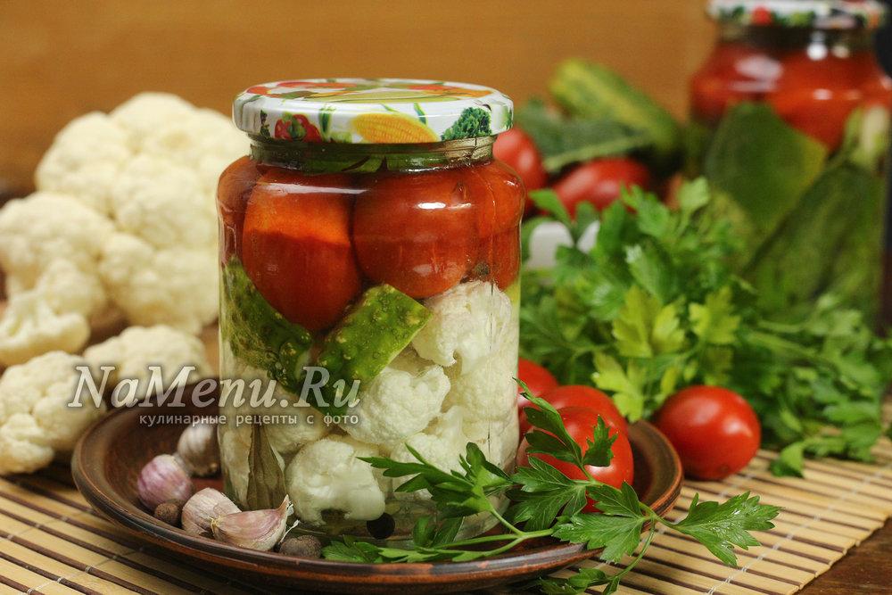 салат на зиму помидоры огурцы и капуста