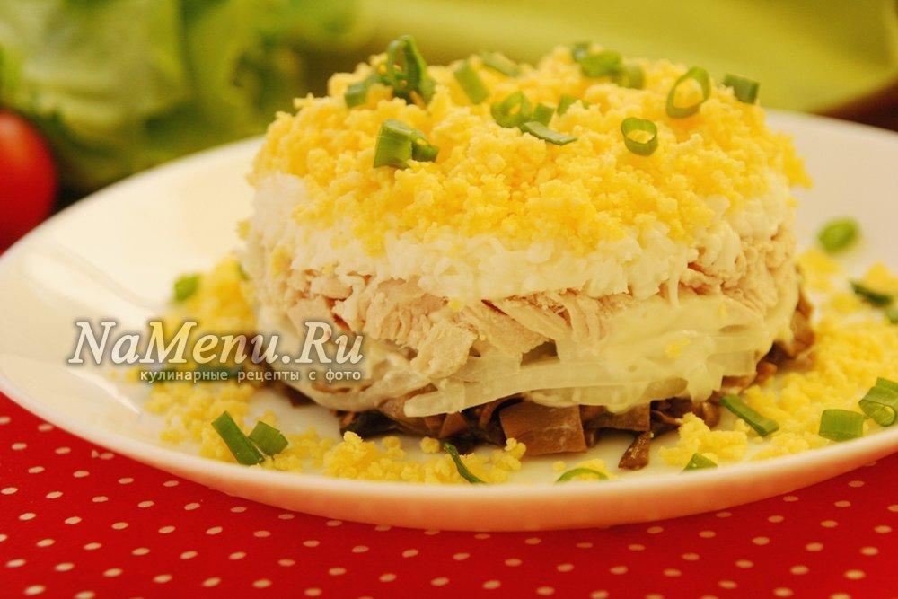 мужской каприз салат рецепт с фото с курицей и грибами