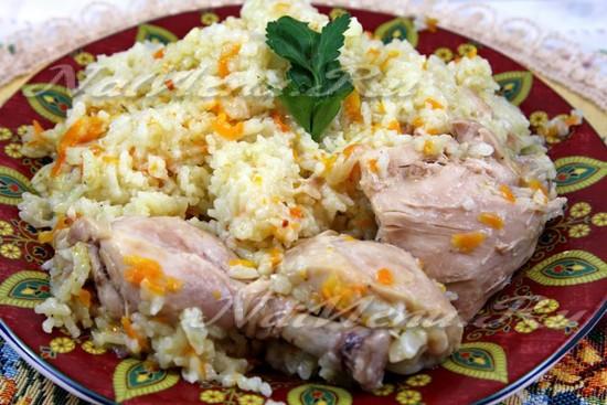 приготовление риса с курицей