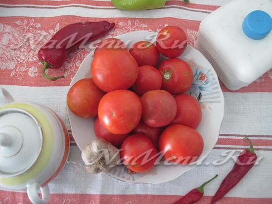 Ингредиенты для помидор на снегу