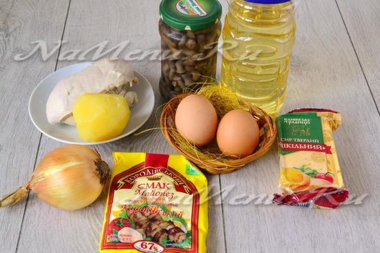 продукты для приготовления салата Первый снег