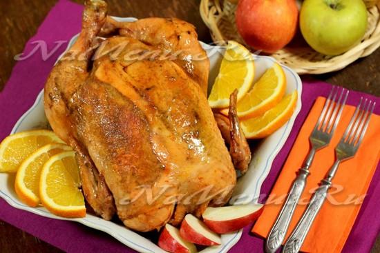 курица фаршированная в мультиварке целиком рецепт с фото