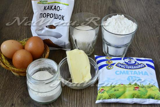 Ингредиенты для приготовления кекса Зебра