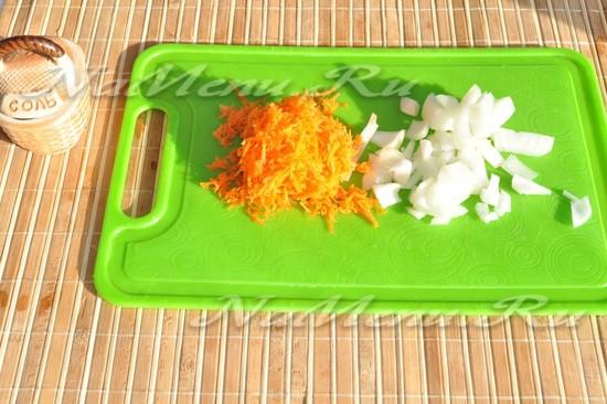 нарежьте овощи