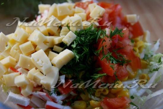 Салат крабовые палочки помидоры сыр чеснок