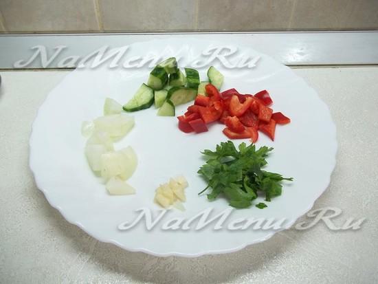 Все овощи очищены и нарезаны