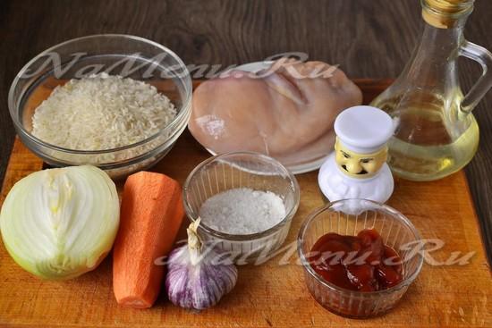 Ингредиенты для приготовления плова с курицей