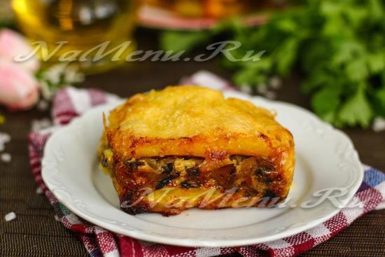 Картофельная запеканка с грибами в духовке: рецепт с фото