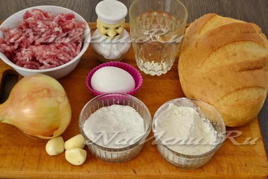Ингредиенты для приготовления котлет из свинины