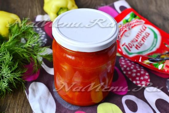 Лечо из болгарского перца с томатной пастой на зиму