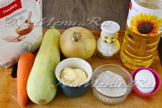 Ингредиенты для приготовления торта из кабачков с морковью и луком