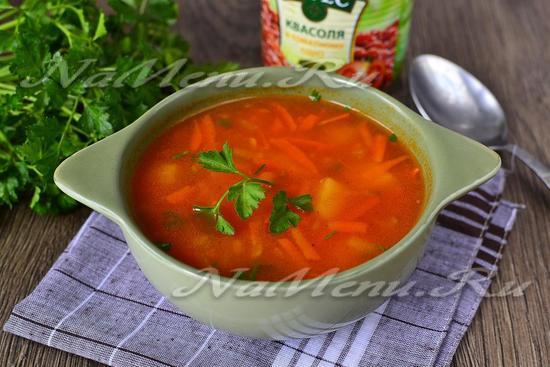 Рецепт фасолевого супа из красной консервированной фасоли