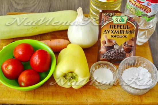 Ингредиенты для приготовления овощного лечо на зиму
