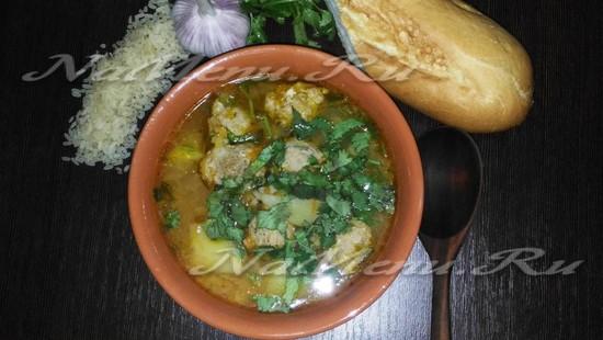 Рецепт рисового супа с фрикадельками из куриного мяса