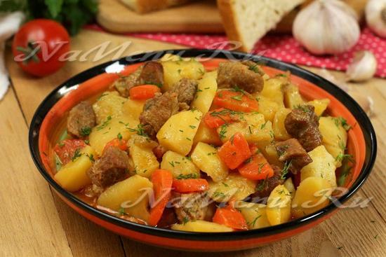 рецепт картошки, тушеной со свининой